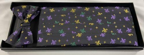 Mardi Gras Fleur de Lis & Stars Cummerbund and Bow Tie