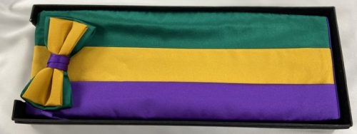 Mardi Gras Tri-Color Cummerbund and Bow Tie