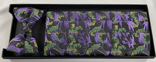 Mardi Gras Stain Glass Cummerbund and Bow Tie