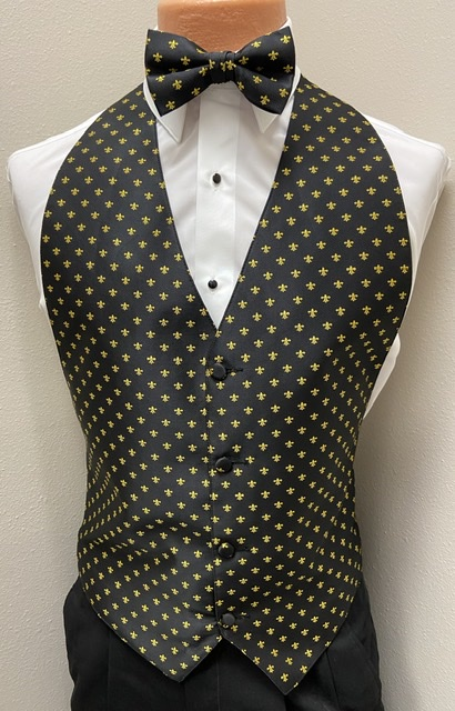 Black & Gold Fleur de Lis Vest & Bow