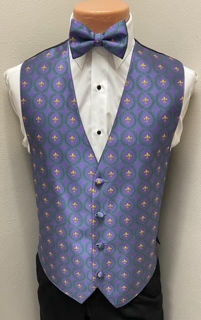 Mardi Gras Fleur de Lis Vest and Bow Tie