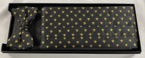 Black & Gold Fleur de Lis Cummerbund and Bow Tie