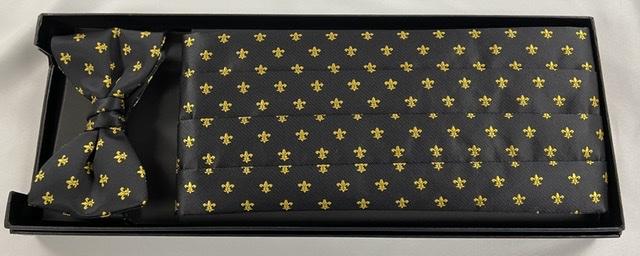 Black & Gold Fleur de Lis Cummerbund and Bow Tie