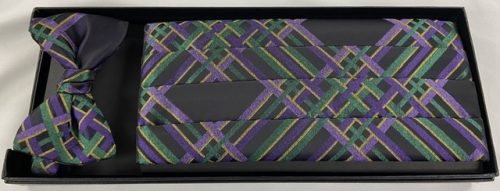 Mardi Gras Criss Cross Cummerbund and Bow Tie
