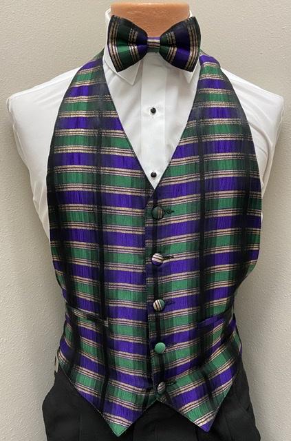 Mardi Gras Plaid Vest and Bow Tie
