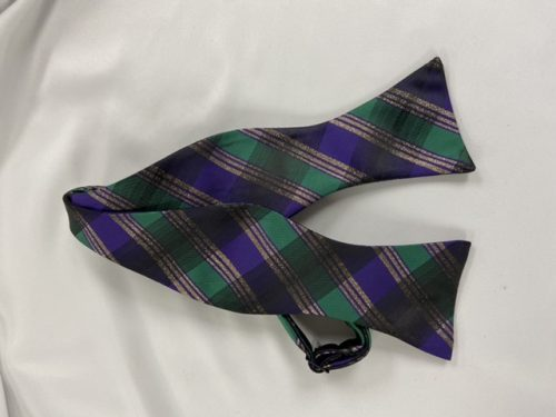 Mardi Gras Plaid Self Bow Tie
