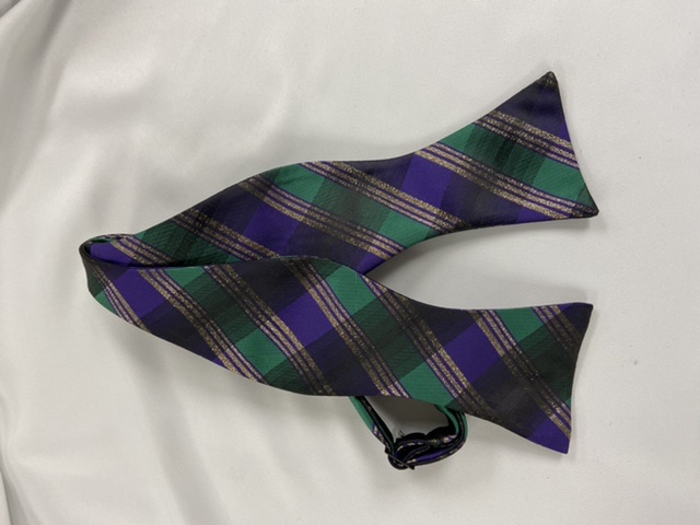 Mardi Gras Plaid Self Bow Tie