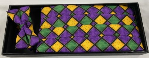 Mardi Gras Diamond Cummerbund and Bow Tie