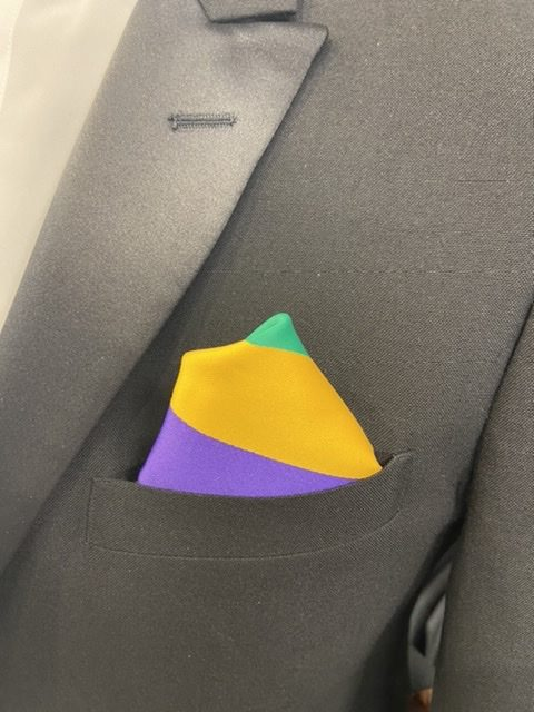 Mard Gras Tri-Color Pocket Square