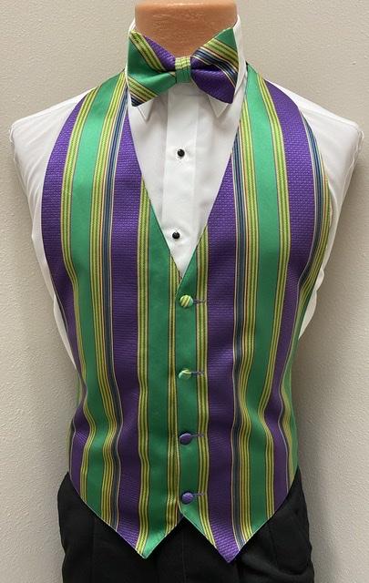 Mardi Gras Brick Vest and Bow Tie