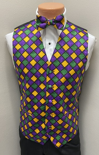 Mardi Gras Diamond Vest and Bow