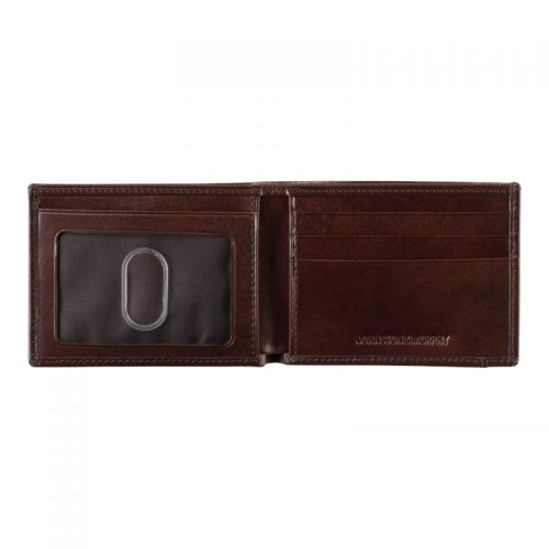 Johnston & Murphy Mahogany Bi-Fold Wallet Open