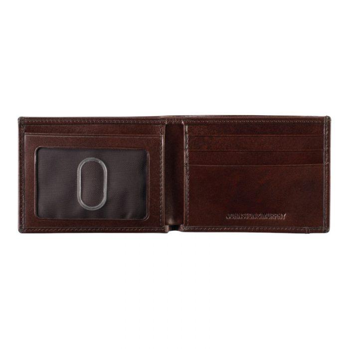 Johnston & Murphy Mahogany Bi-Fold Wallet Open