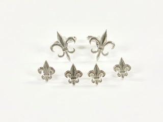 Silver Fleur De Lis Stud & Cufflink
