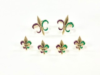 Tri Color Fleur De lis stud and cufflink set