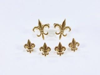 Gold Fleur De Lis Stud & Cufflink